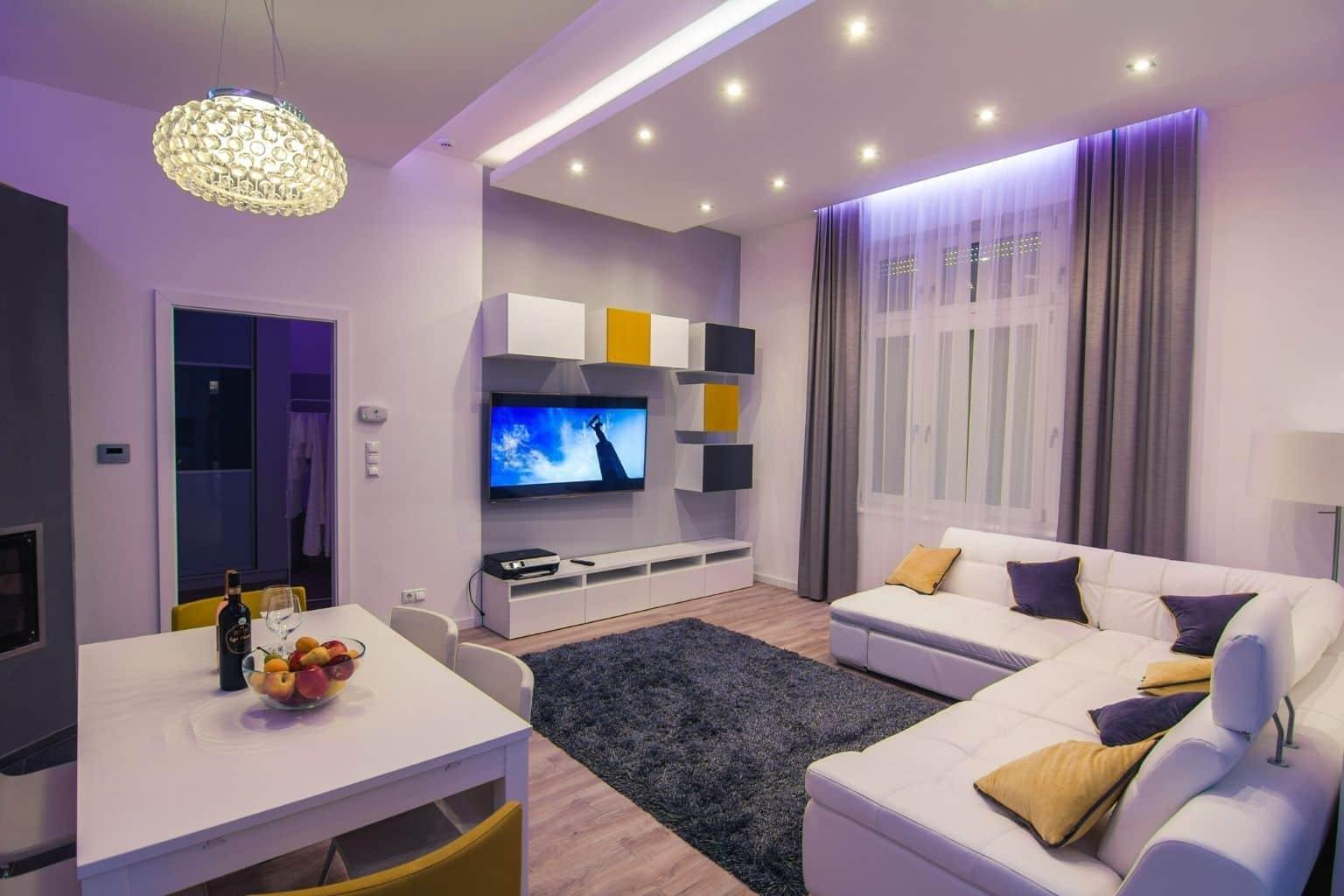Feels just like home, huge TV, comfy sofa, mood lighting
